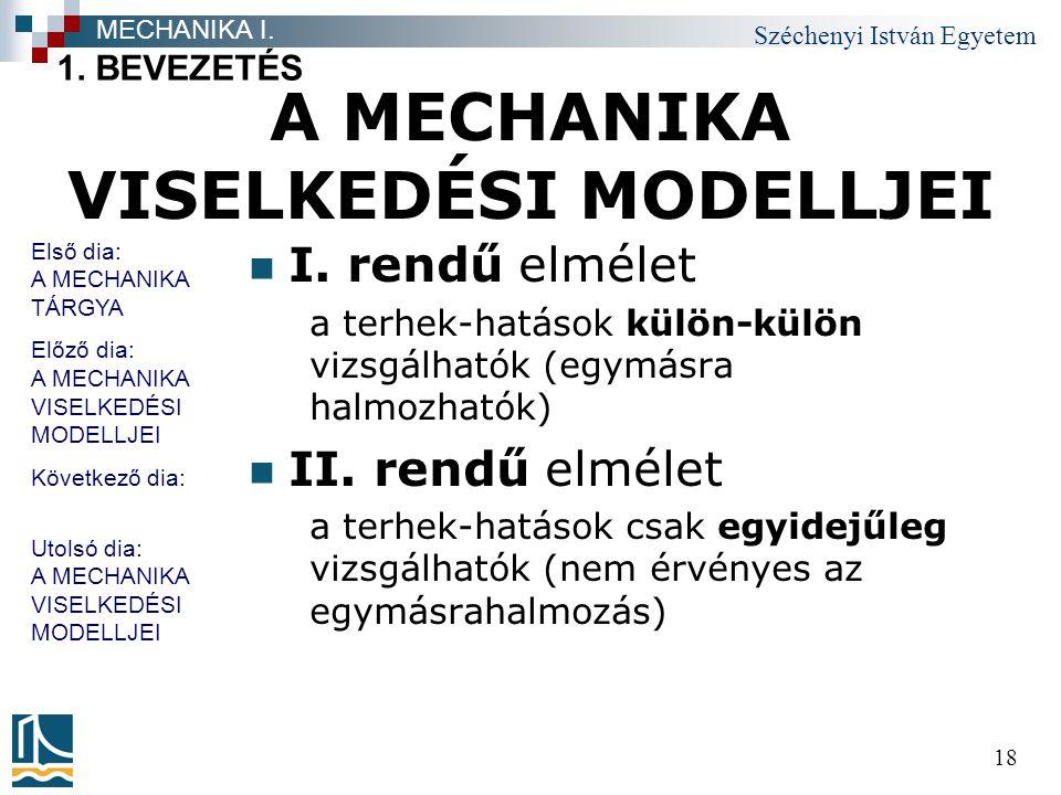 Széchenyi István Egyetem 18 A MECHANIKA VISELKEDÉSI MODELLJEI I.