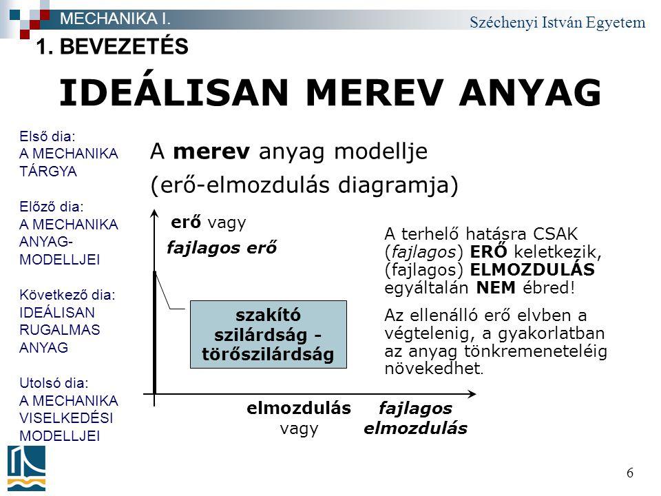 Széchenyi István Egyetem 17 A MECHANIKA VISELKEDÉSI MODELLJEI I.