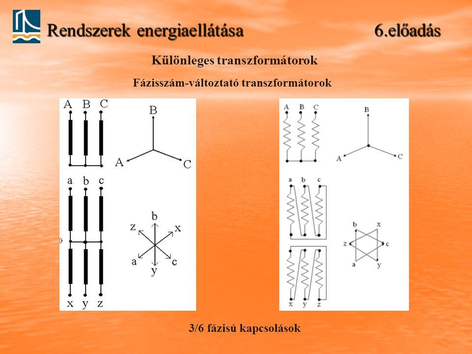 Rendszerek energiaellátása 6.előadás Különleges transzformátorok Fázisszám-változtató transzformátorok 3/6 fázisú kapcsolások