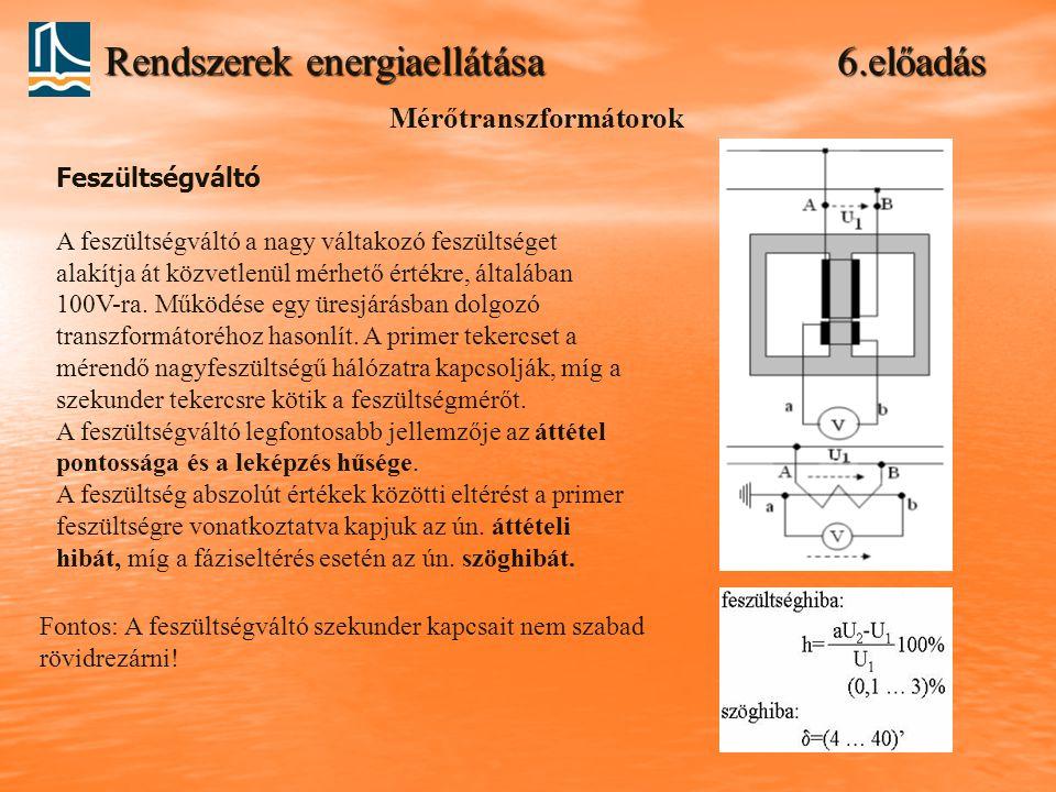 Rendszerek energiaellátása 6.előadás Mérőtranszformátorok Feszültségváltó A feszültségváltó a nagy váltakozó feszültséget alakítja át közvetlenül mérh