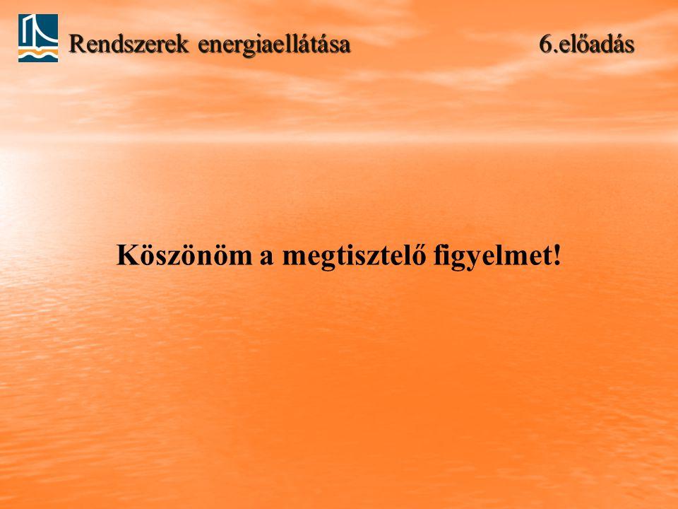 Rendszerek energiaellátása 6.előadás Köszönöm a megtisztelő figyelmet!