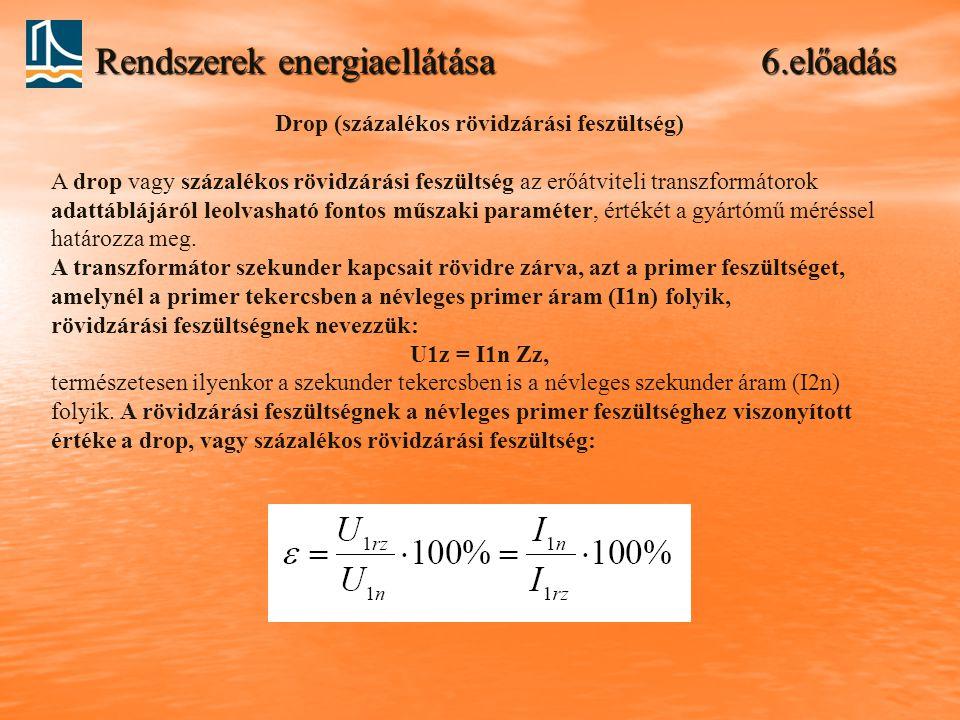 Rendszerek energiaellátása 6.előadás Drop (százalékos rövidzárási feszültség) A drop vagy százalékos rövidzárási feszültség az erőátviteli transzformá