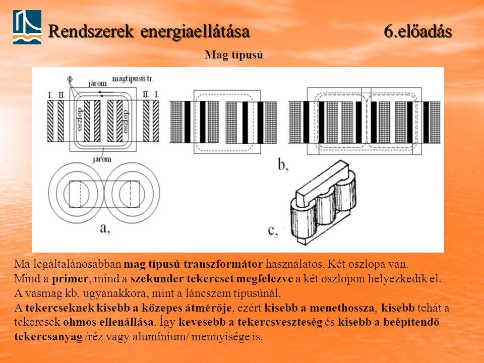 Rendszerek energiaellátása 6.előadás Ma legáltalánosabban mag típusú transzformátor használatos. Két oszlopa van. Mind a primer, mind a szekunder teke