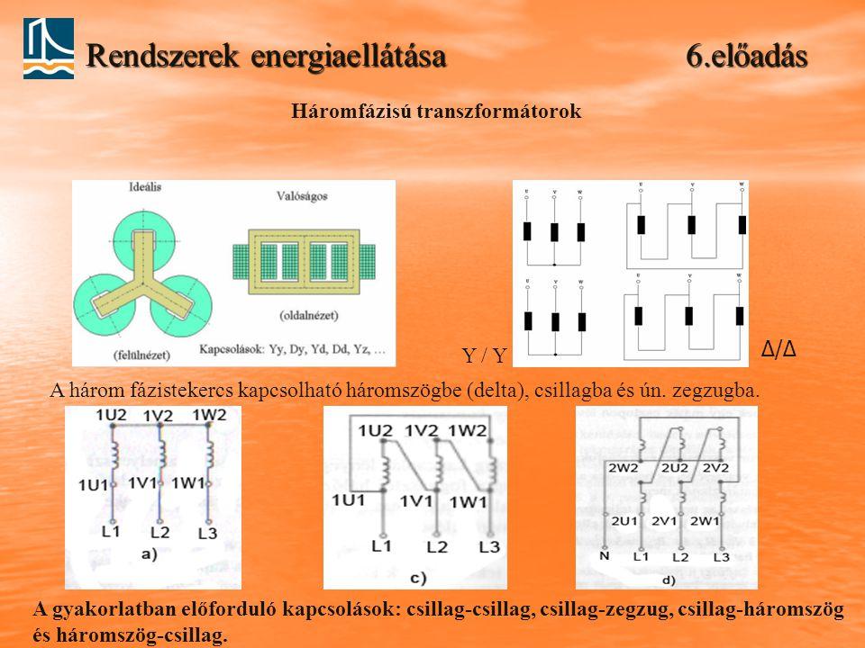 Rendszerek energiaellátása 6.előadás Háromfázisú transzformátorok Y / Y Δ/Δ A három fázistekercs kapcsolható háromszögbe (delta), csillagba és ún. zeg