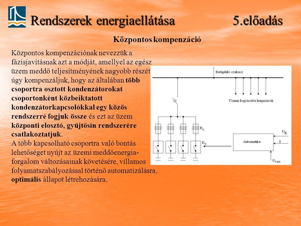 Rendszerek energiaellátása 5.előadás Központos kompenzáció Központos kompenzációnak nevezzük a fázisjavításnak azt a módját, amellyel az egész üzem me