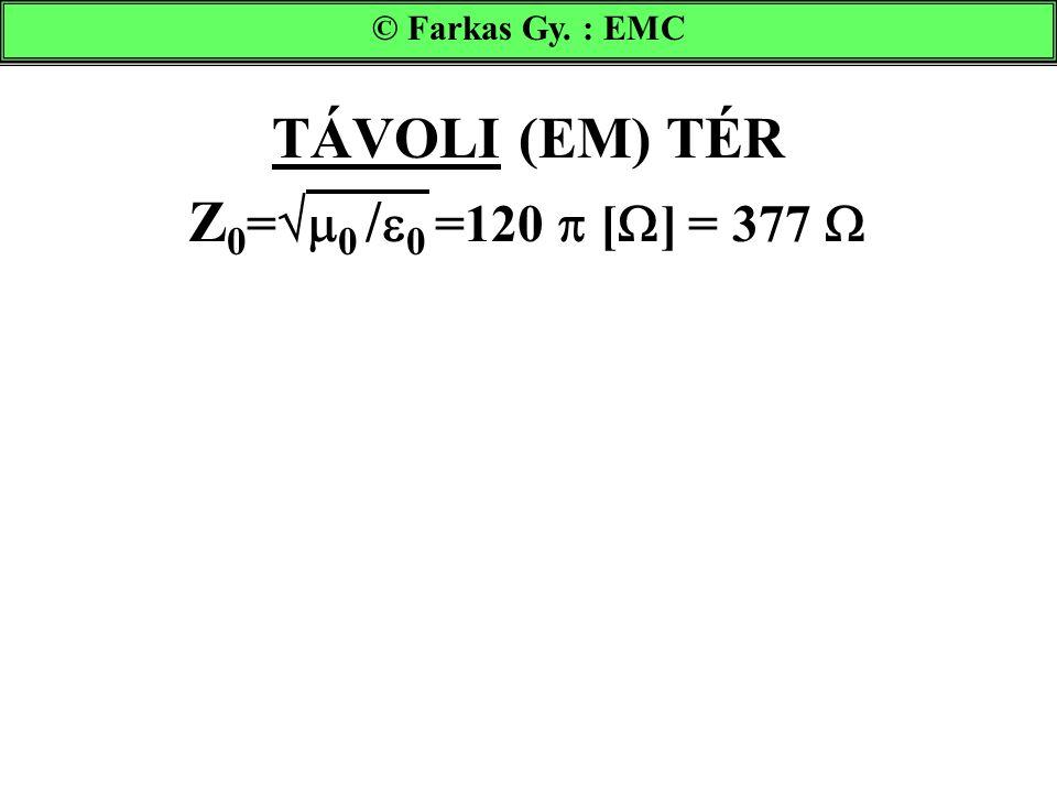 TÁVOLI (EM) TÉR Z 0 =  0 /  0 =120  [  ] = 377  © Farkas Gy. : EMC
