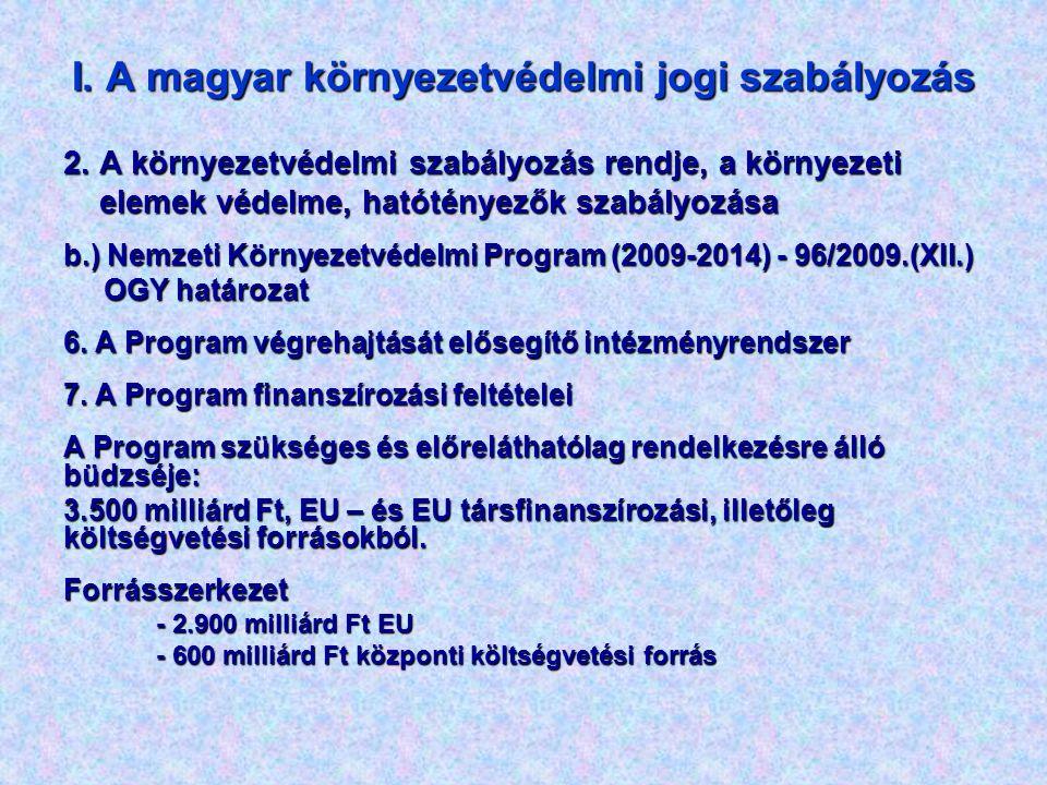 I. A magyar környezetvédelmi jogi szabályozás 2. A környezetvédelmi szabályozás rendje, a környezeti elemek védelme, hatótényezők szabályozása elemek