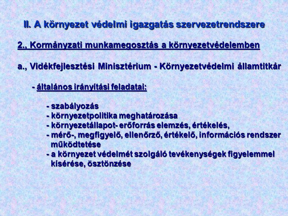 II. A környezet védelmi igazgatás szervezetrendszere 2., Kormányzati munkamegosztás a környezetvédelemben a., Vidékfejlesztési Minisztérium - Környeze
