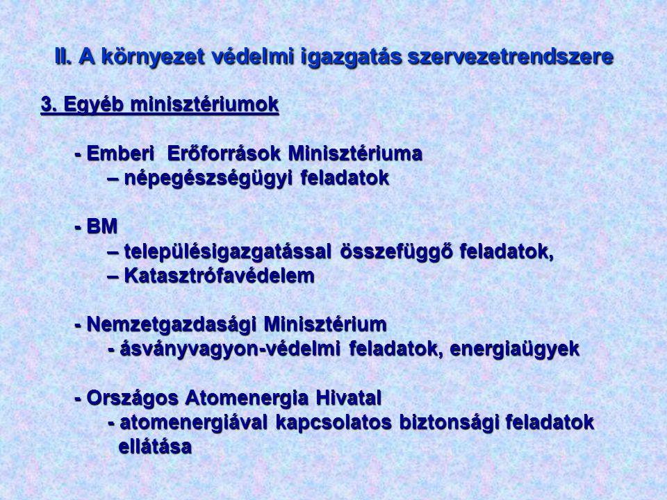 II. A környezet védelmi igazgatás szervezetrendszere 3. Egyéb minisztériumok - Emberi Erőforrások Minisztériuma – népegészségügyi feladatok - BM – tel