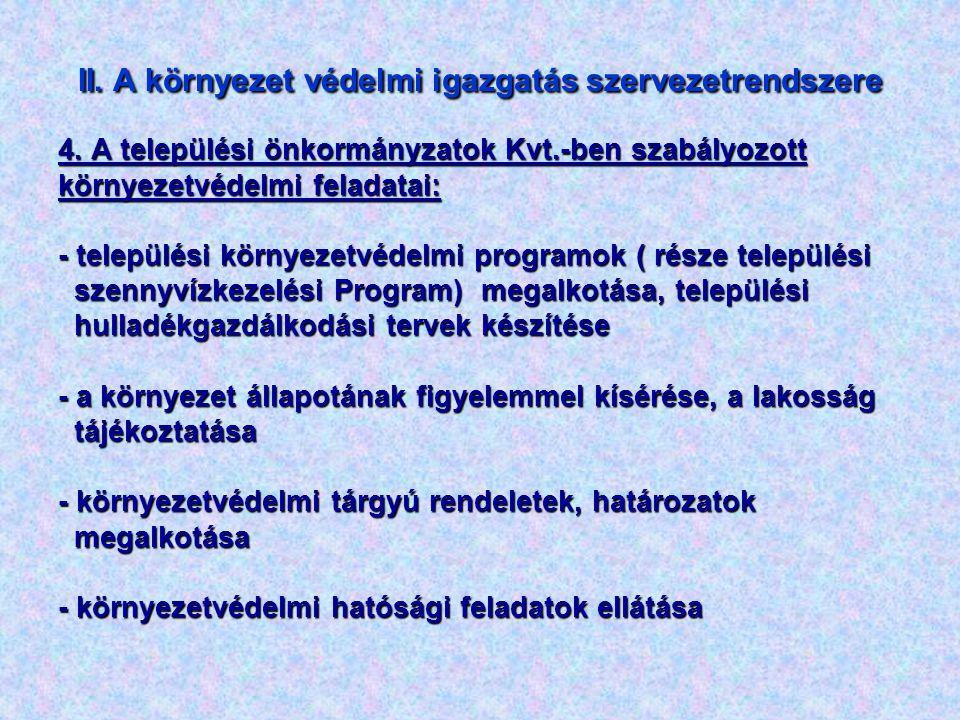 II. A környezet védelmi igazgatás szervezetrendszere 4. A települési önkormányzatok Kvt.-ben szabályozott környezetvédelmi feladatai: - települési kör