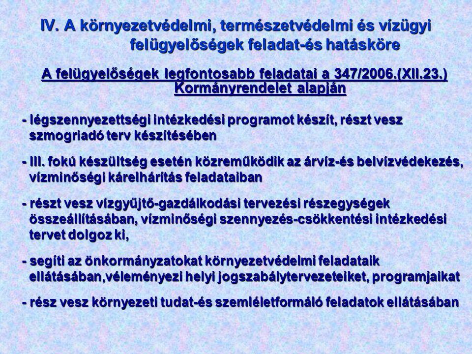 IV. A környezetvédelmi, természetvédelmi és vízügyi felügyelőségek feladat-és hatásköre A felügyelőségek legfontosabb feladatai a 347/2006.(XII.23.) K