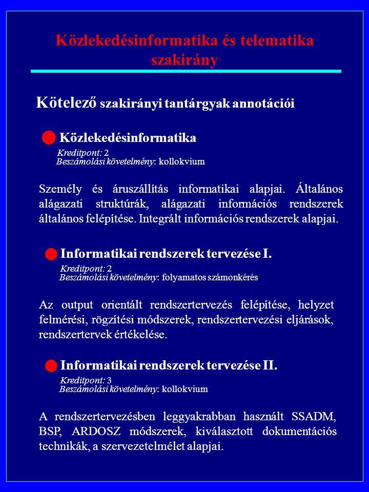 Közlekedésinformatika és telematika szakirány Kötelező szakirányi tantárgyak annotációi Személy és áruszállítás informatikai alapjai.