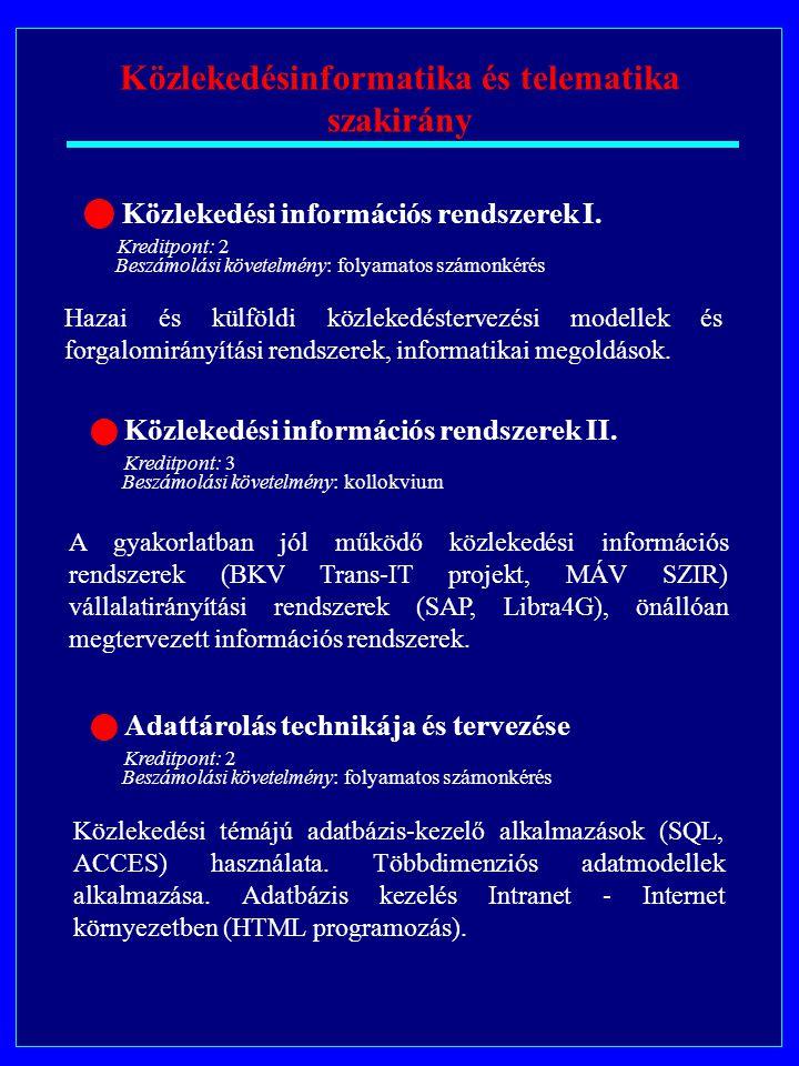 Közlekedésinformatika és telematika szakirány Közlekedési információs rendszerek II.