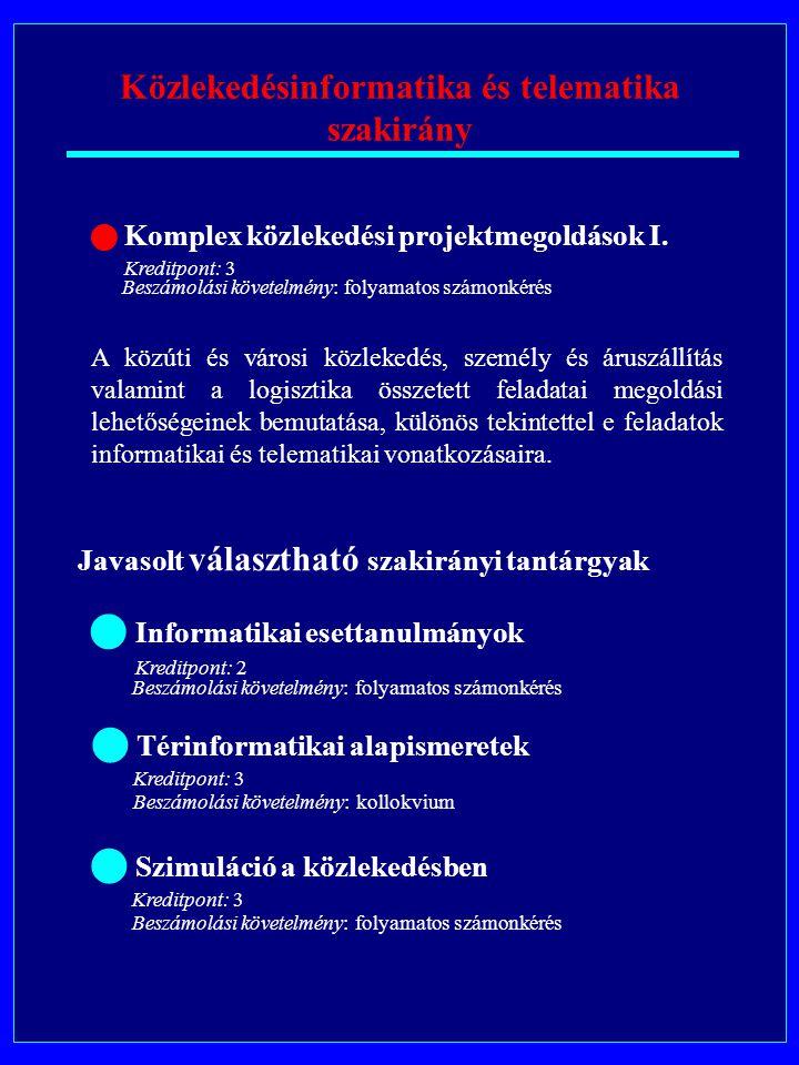 Közlekedésinformatika és telematika szakirány Komplex közlekedési projektmegoldások I.