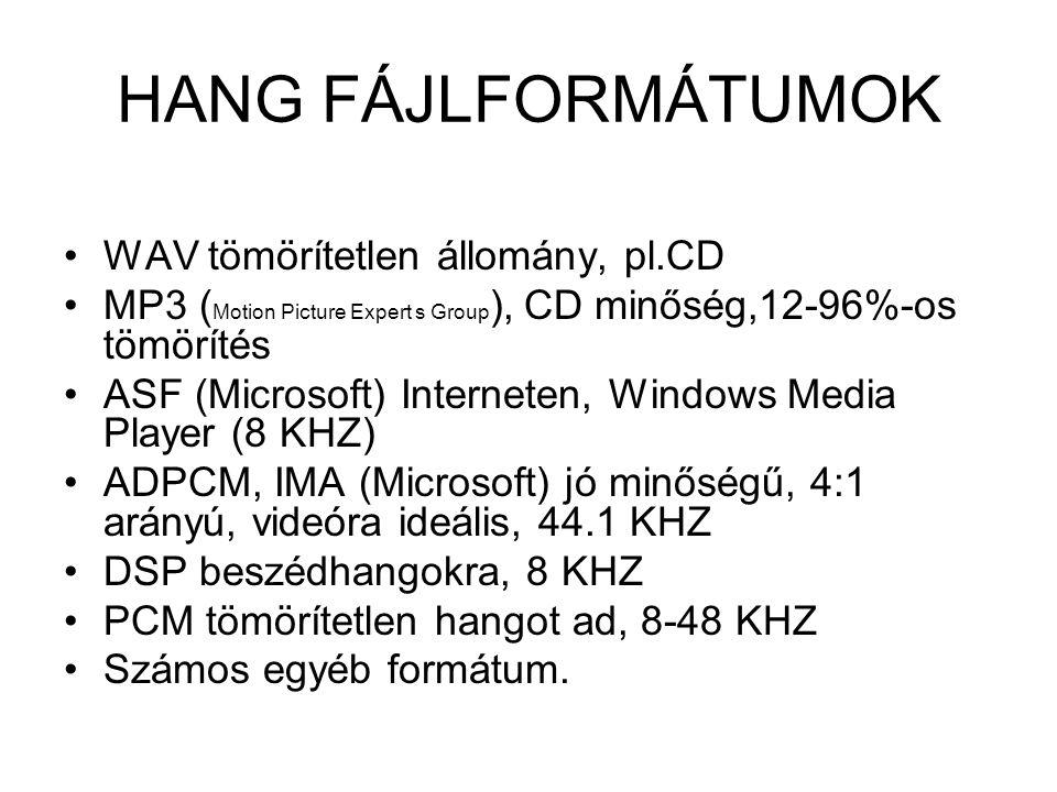 HANG FÁJLFORMÁTUMOK WAV tömörítetlen állomány, pl.CD MP3 ( Motion Picture Expert s Group ), CD minőség,12-96%-os tömörítés ASF (Microsoft) Interneten,