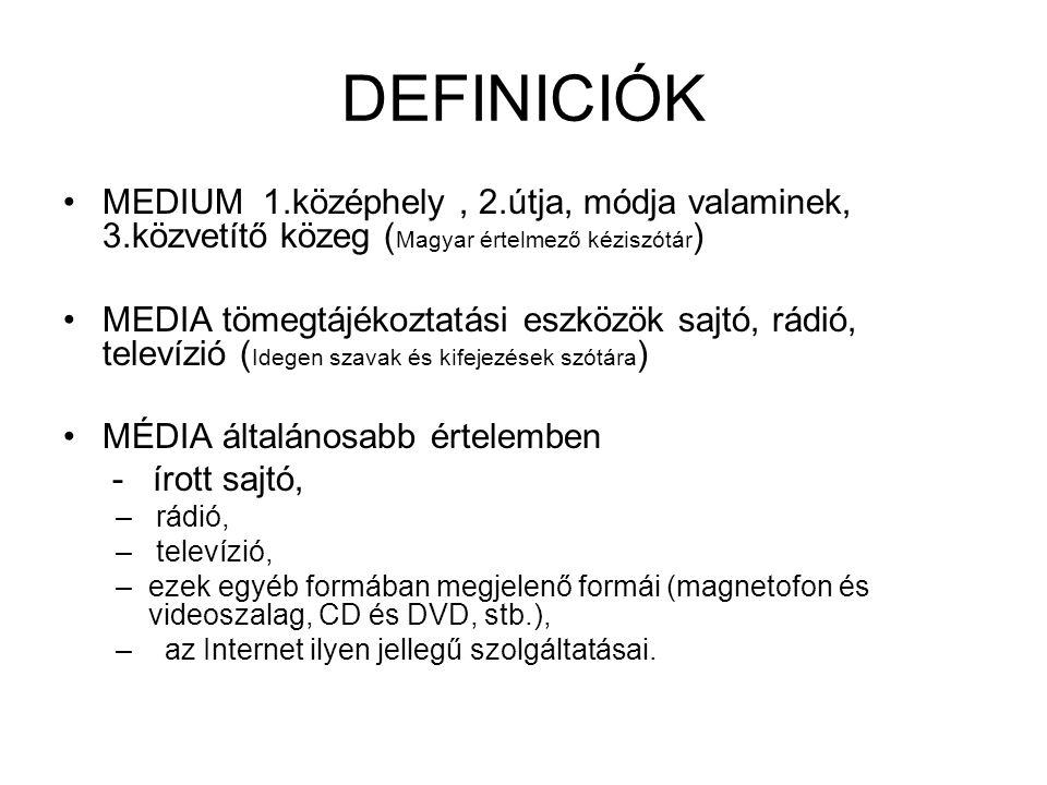 DEFINICIÓK MEDIUM 1.középhely, 2.útja, módja valaminek, 3.közvetítő közeg ( Magyar értelmező kéziszótár ) MEDIA tömegtájékoztatási eszközök sajtó, rád