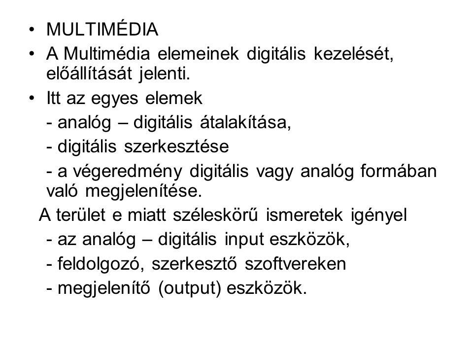 MULTIMÉDIA A Multimédia elemeinek digitális kezelését, előállítását jelenti. Itt az egyes elemek - analóg – digitális átalakítása, - digitális szerkes