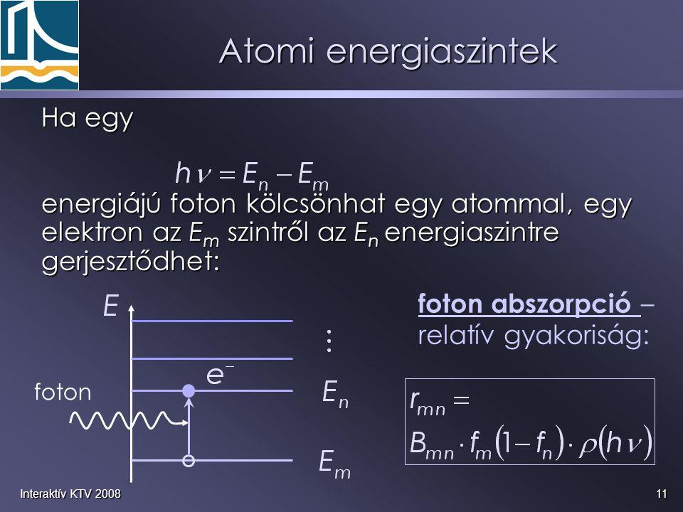 11Interaktív KTV 2008 Ha egy energiájú foton kölcsönhat egy atommal, egy elektron az E m szintről az E n energiaszintre gerjesztődhet: foton foton abs