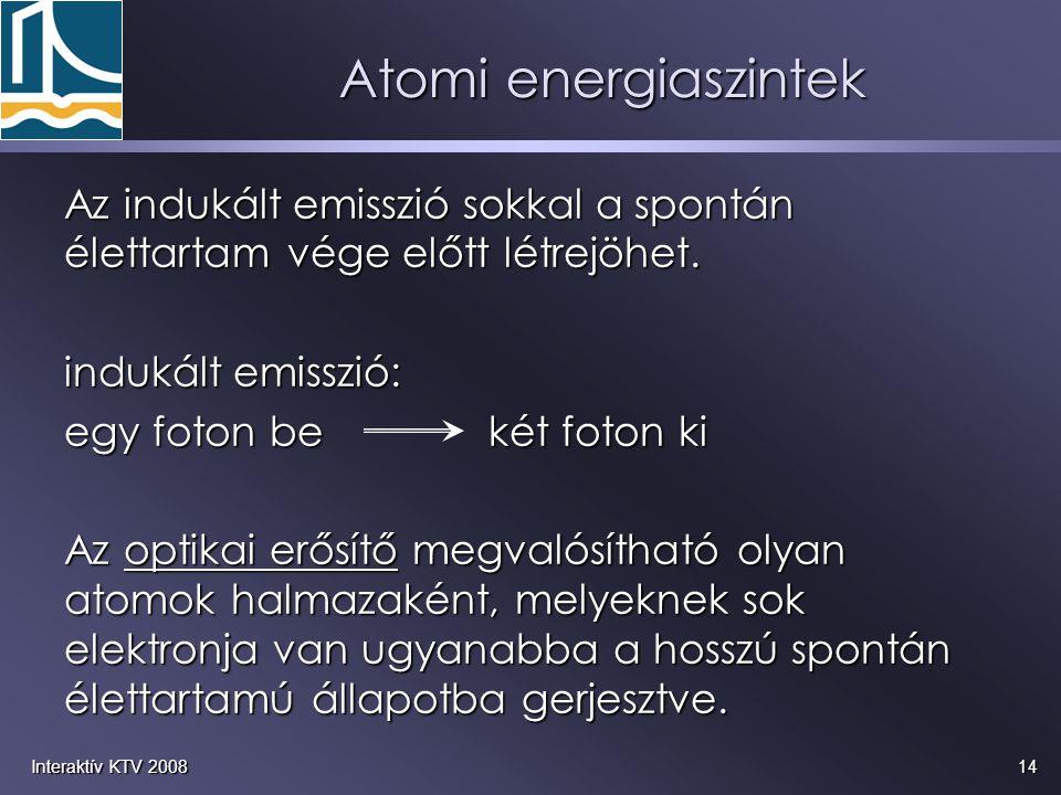 14Interaktív KTV 2008 Az indukált emisszió sokkal a spontán élettartam vége előtt létrejöhet. indukált emisszió: egy foton be két foton ki Az optikai