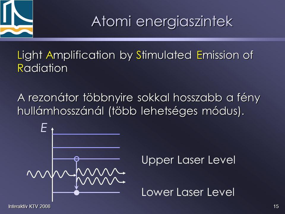15Interaktív KTV 2008 Light Amplification by Stimulated Emission of Radiation A rezonátor többnyire sokkal hosszabb a fény hullámhosszánál (több lehet