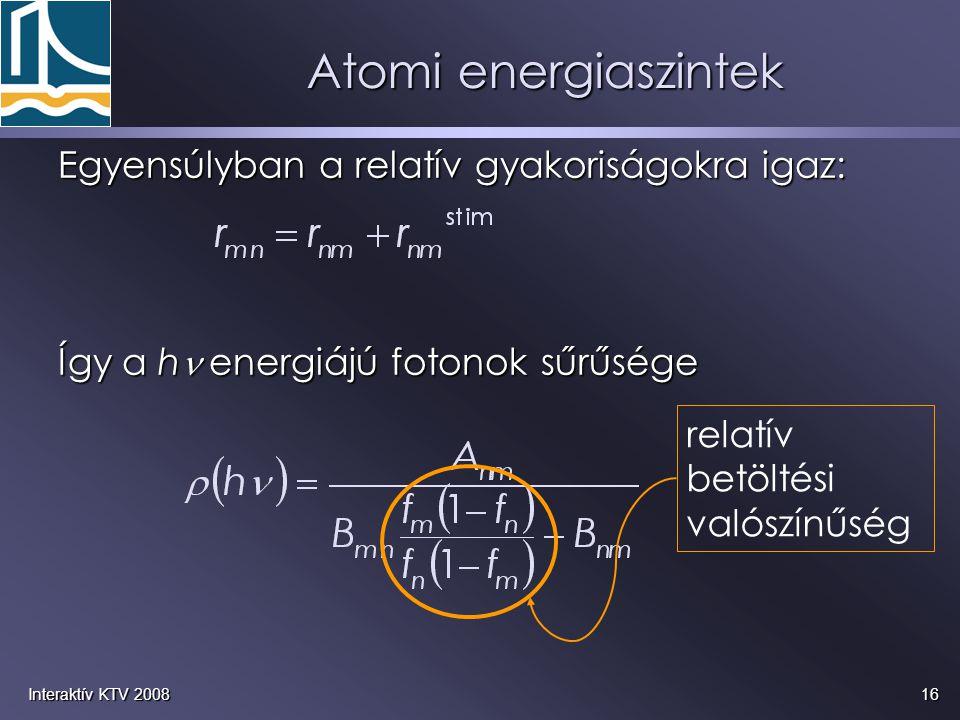 16Interaktív KTV 2008 Egyensúlyban a relatív gyakoriságokra igaz: Így a h energiájú fotonok sűrűsége relatív betöltési valószínűség Atomi energiaszin