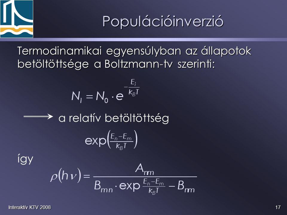 17Interaktív KTV 2008 Populációinverzió Termodinamikai egyensúlyban az állapotok betöltöttsége a Boltzmann-tv szerinti: a relatív betöltöttség így