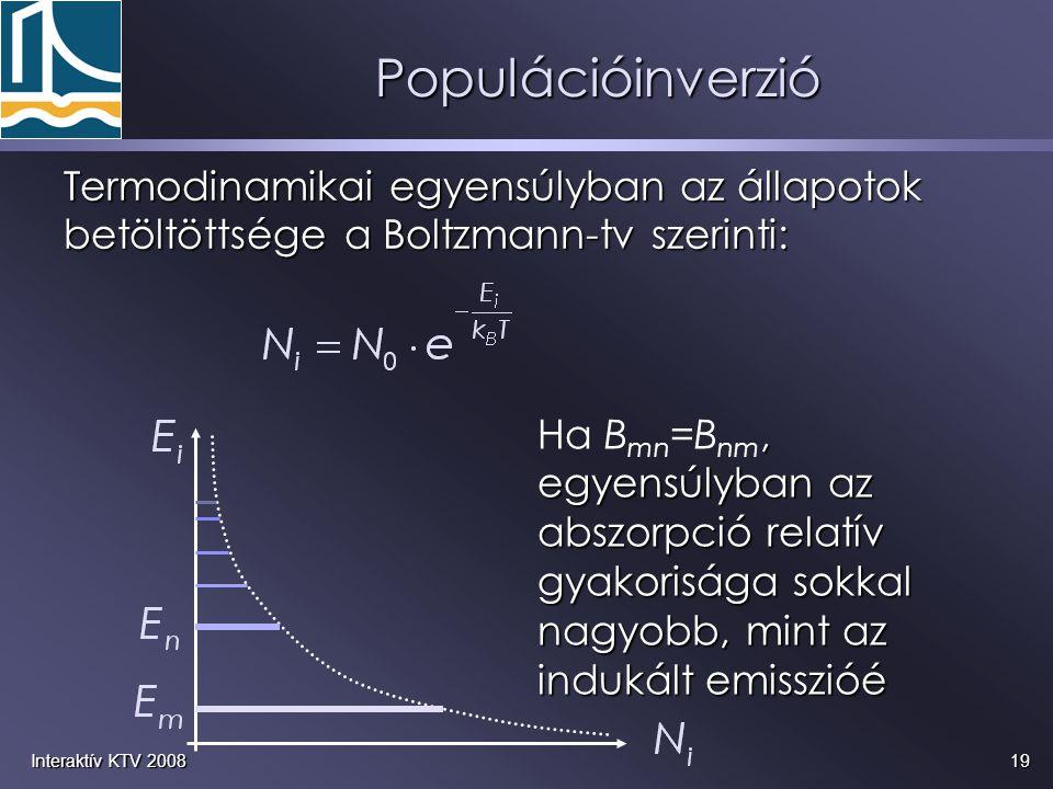 19Interaktív KTV 2008, egyensúlyban az abszorpció relatív gyakorisága sokkal nagyobb, mint az indukált emisszióé Ha B mn =B nm, egyensúlyban az abszor