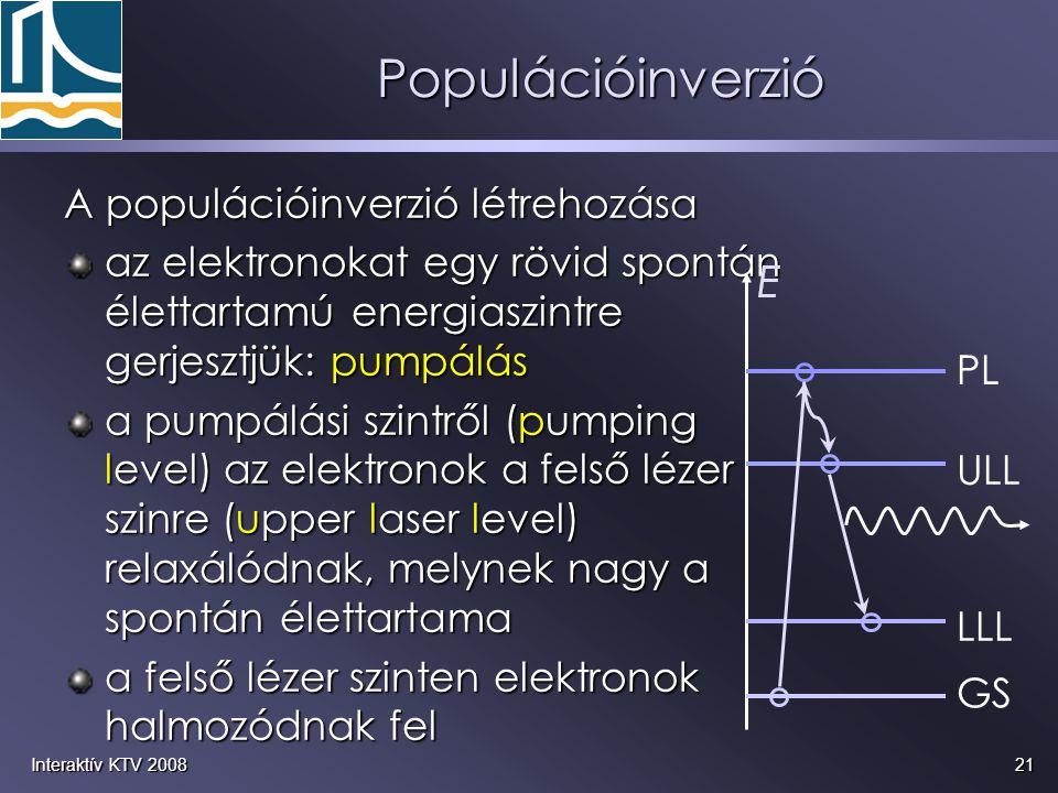 21Interaktív KTV 2008 A populációinverzió létrehozása az elektronokat egy rövid spontán élettartamú energiaszintre gerjesztjük: pumpálás a pumpálási s
