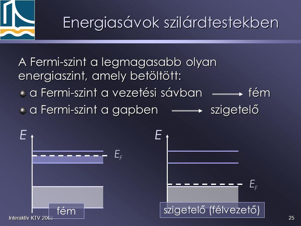 25Interaktív KTV 2008 A Fermi-szint a legmagasabb olyan energiaszint, amely betöltött: a Fermi-szint a vezetési sávban fém a Fermi-szint a vezetési sá