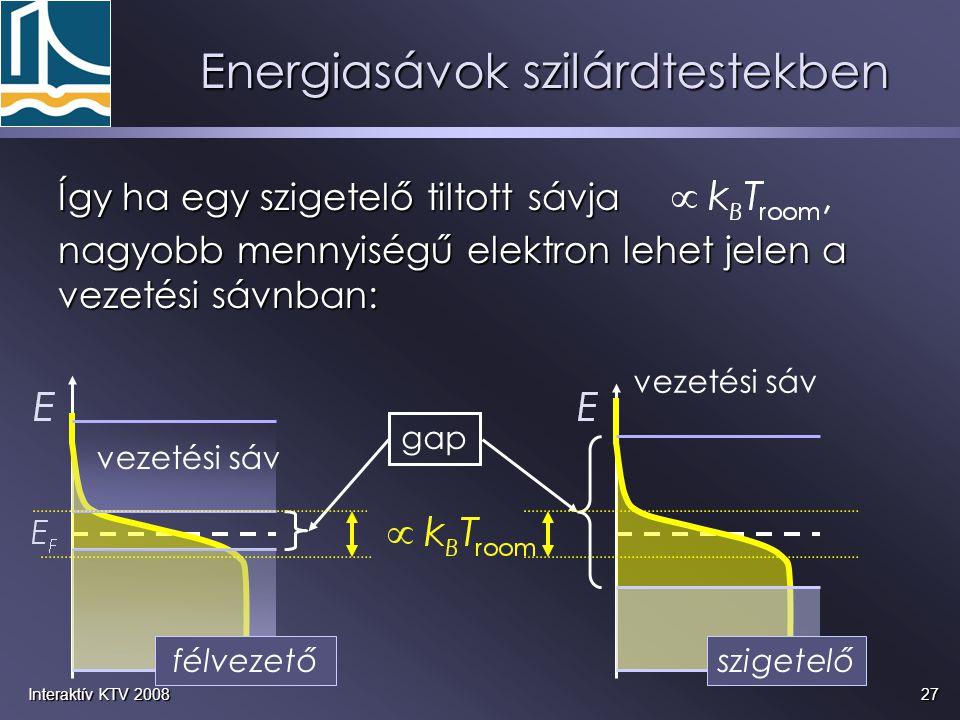 27Interaktív KTV 2008 Így ha egy szigetelő tiltott sávja nagyobb mennyiségű elektron lehet jelen a vezetési sávnban: vezetési sáv gap félvezetőszigete
