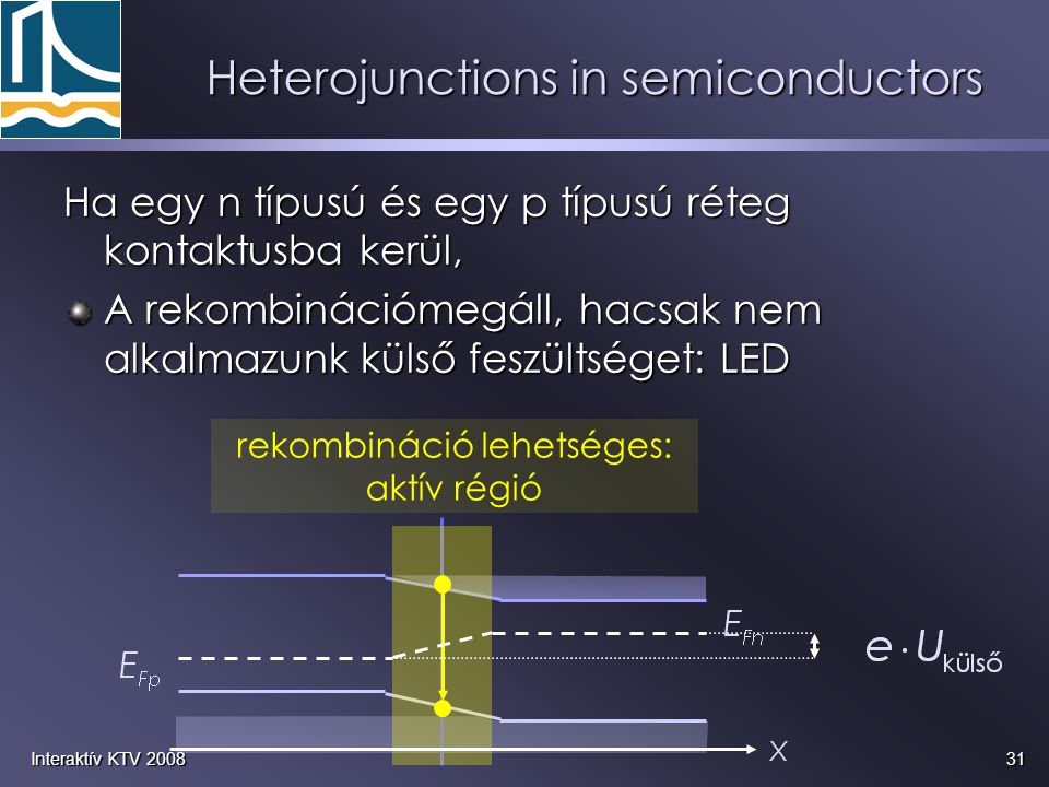 31Interaktív KTV 2008 Heterojunctions in semiconductors Ha egy n típusú és egy p típusú réteg kontaktusba kerül, A rekombinációmegáll, hacsak nem alka