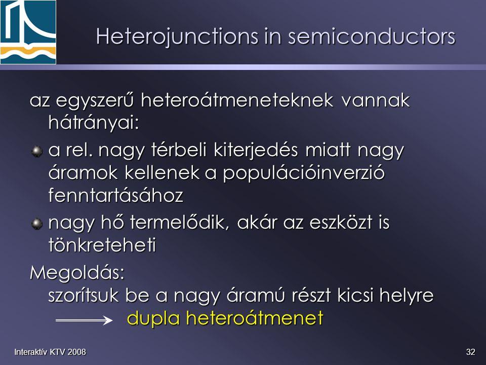 32Interaktív KTV 2008 Heterojunctions in semiconductors az egyszerű heteroátmeneteknek vannak hátrányai: a rel. nagy térbeli kiterjedés miatt nagy ára