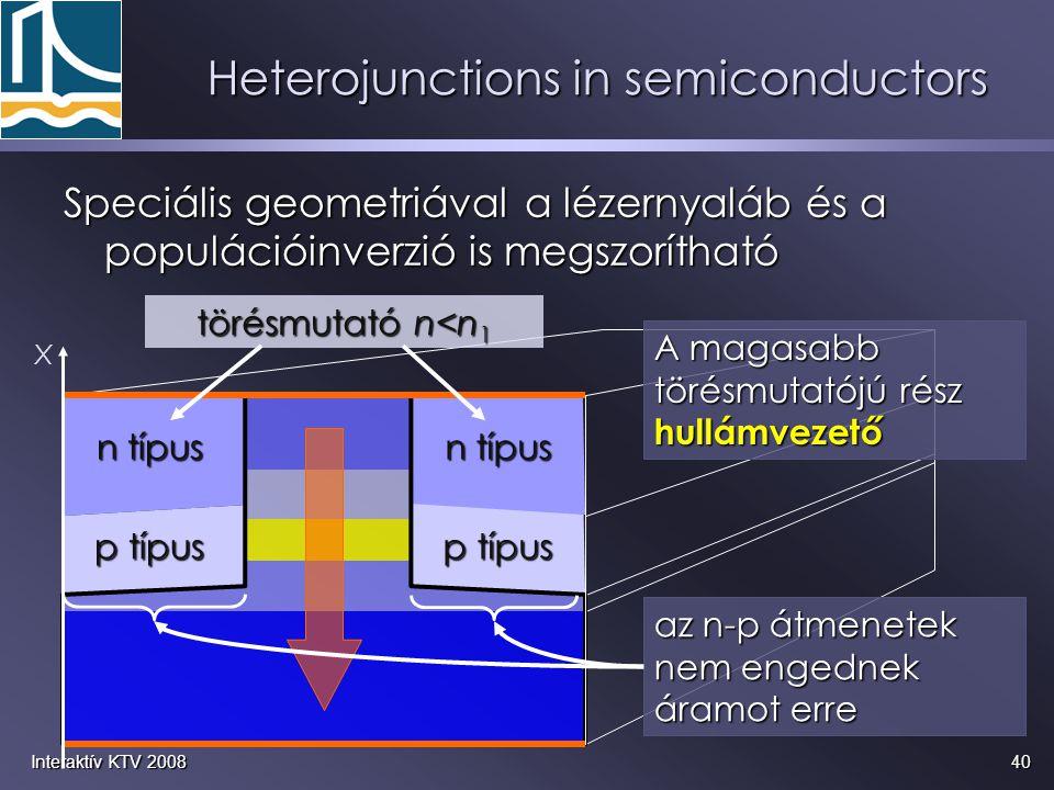 40Interaktív KTV 2008 Heterojunctions in semiconductors Speciális geometriával a lézernyaláb és a populációinverzió is megszorítható az n-p átmenetek