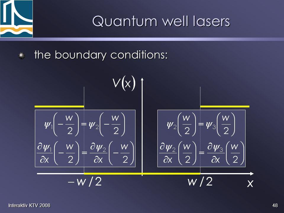 48Interaktív KTV 2008 Quantum well lasers the boundary conditions: