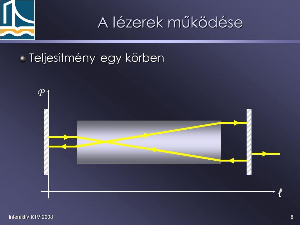8Interaktív KTV 2008 ℓ P A lézerek működése Teljesítmény egy körben