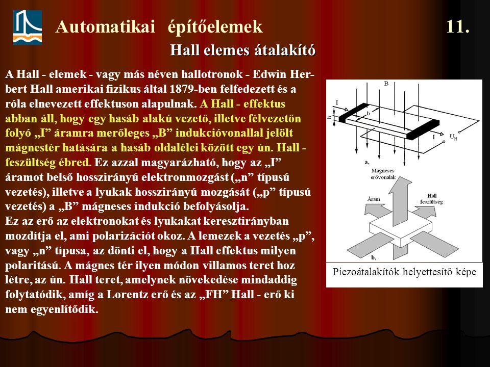 Automatikai építőelemek 11. Hall elemes átalakító Piezoátalakítók helyettesítő képe A Hall - elemek - vagy más néven hallotronok - Edwin Her- bert Hal