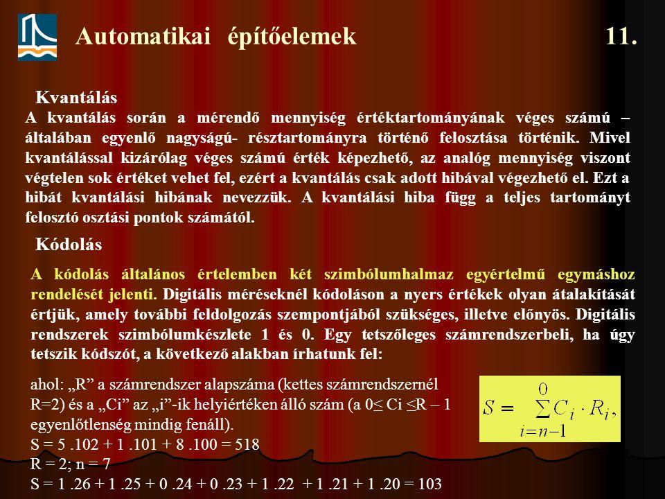 Automatikai építőelemek 11. A kvantálás során a mérendő mennyiség értéktartományának véges számú – általában egyenlő nagyságú- résztartományra történő