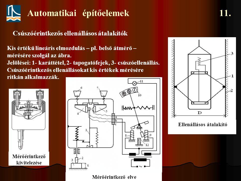 Automatikai építőelemek 11. Csúszóérintkezős ellenállásos átalakítók Ellenállásos átalakító Kis értékű lineáris elmozdulás – pl. belső átmérő – mérésé