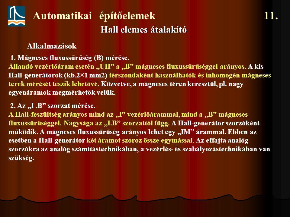 """Automatikai építőelemek 11. Hall elemes átalakító Alkalmazások 1. Mágneses fluxussűrűség (B) mérése. Állandó vezérlőáram esetén """"UH"""" a """"B"""" mágneses fl"""