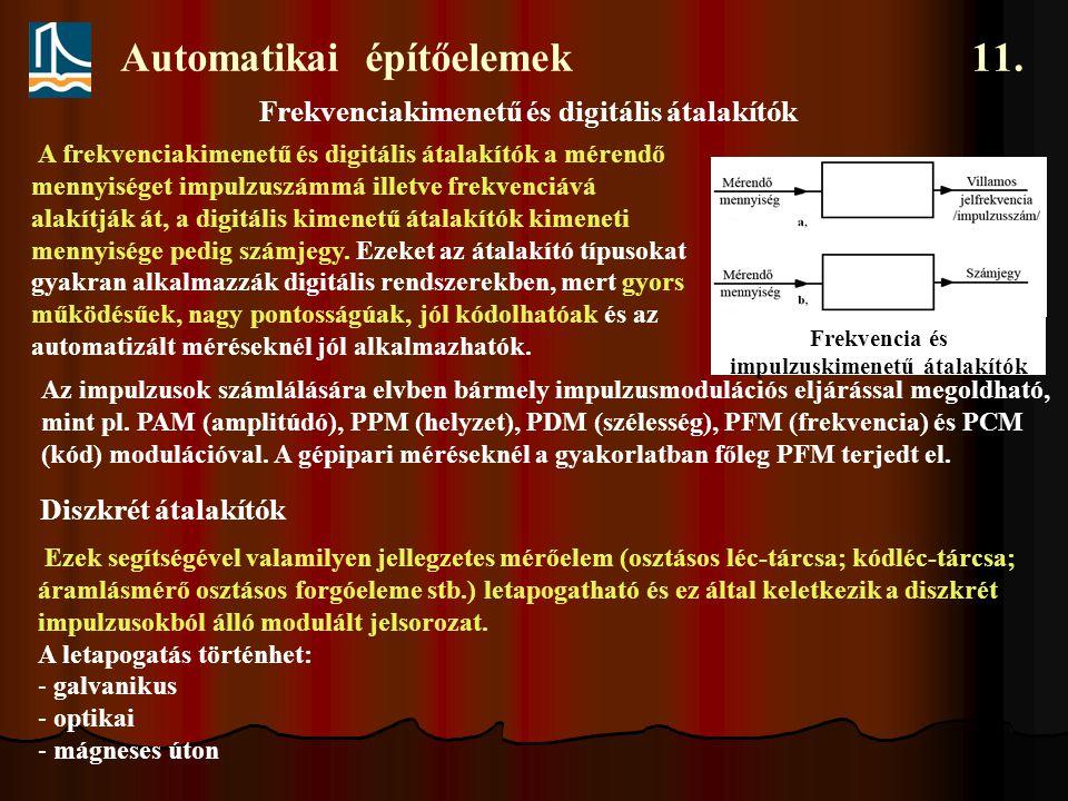 Automatikai építőelemek 11. Frekvencia és impulzuskimenetű átalakítók A frekvenciakimenetű és digitális átalakítók a mérendő mennyiséget impulzuszámmá