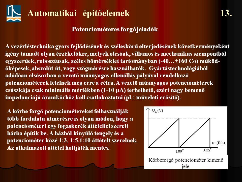 Automatikai építőelemek 13. Potenciométeres forgójeladók A vezérléstechnika gyors fejlődésének és széleskörű elterjedésének következményeként igény tá