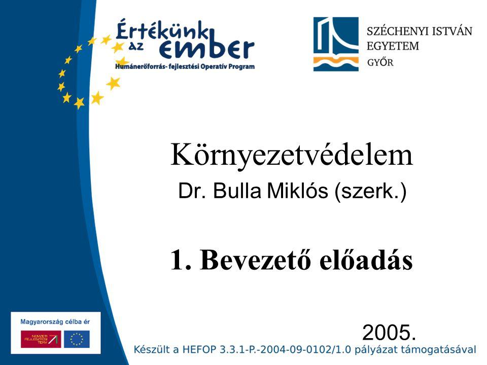 2005. Környezetvédelem Dr. Bulla Miklós (szerk.) 1. Bevezető előadás