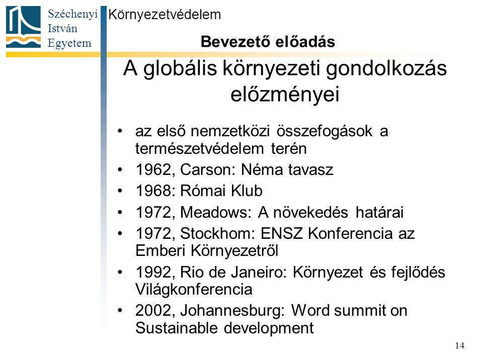 Széchenyi István Egyetem 14 A globális környezeti gondolkozás előzményei az első nemzetközi összefogások a természetvédelem terén 1962, Carson: Néma t