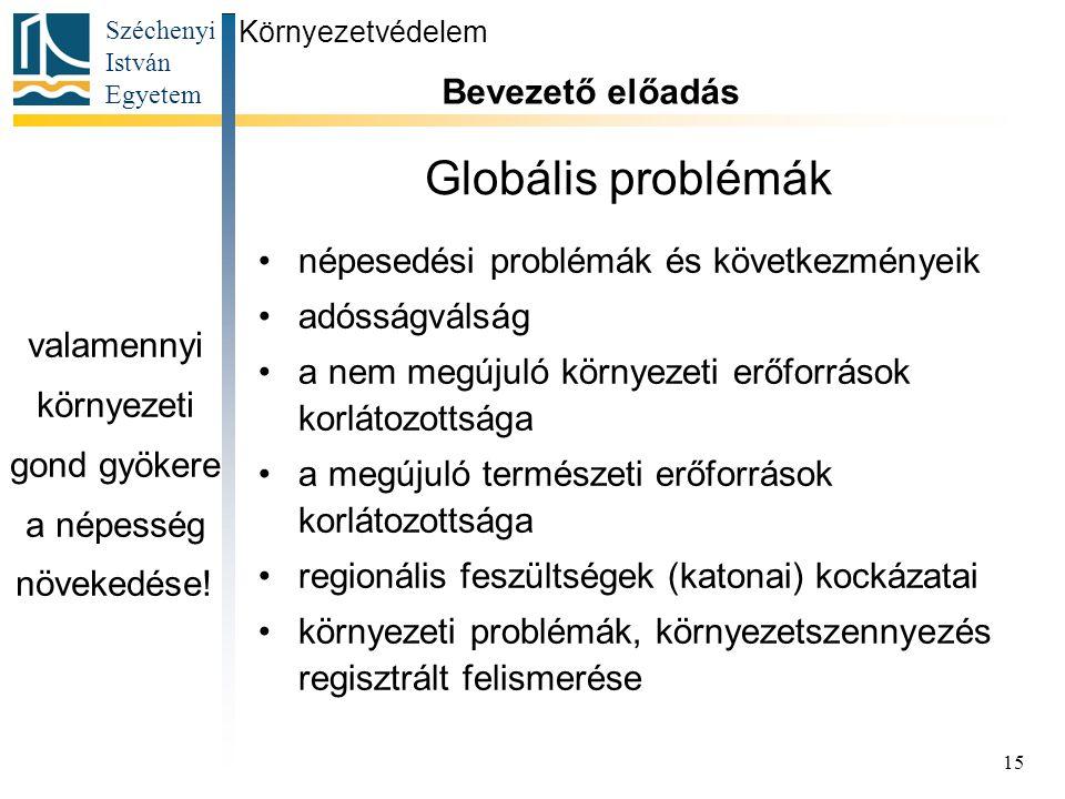 Széchenyi István Egyetem 15 Globális problémák népesedési problémák és következményeik adósságválság a nem megújuló környezeti erőforrások korlátozott