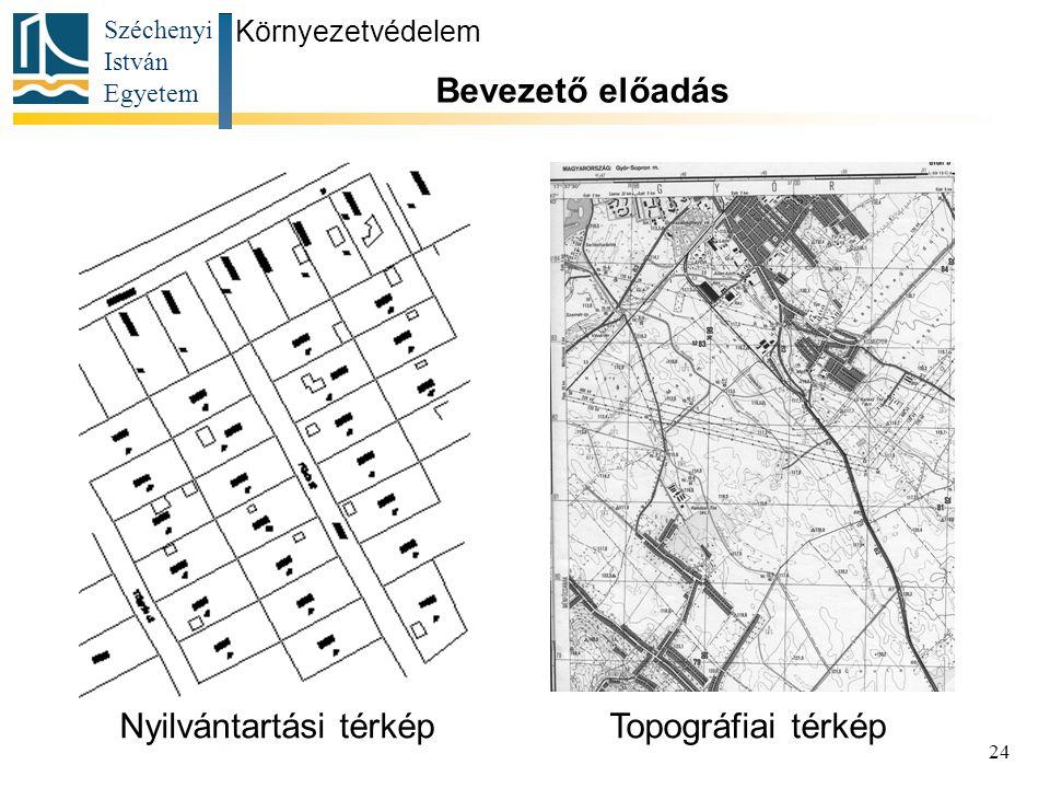 Széchenyi István Egyetem 24 Környezetvédelem Bevezető előadás Nyilvántartási térképTopográfiai térkép