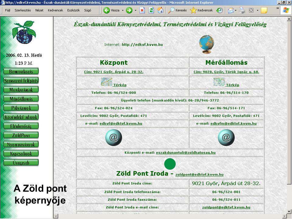 Széchenyi István Egyetem 27 Környezetvédelem Bevezető előadás A Zöld pont képernyője