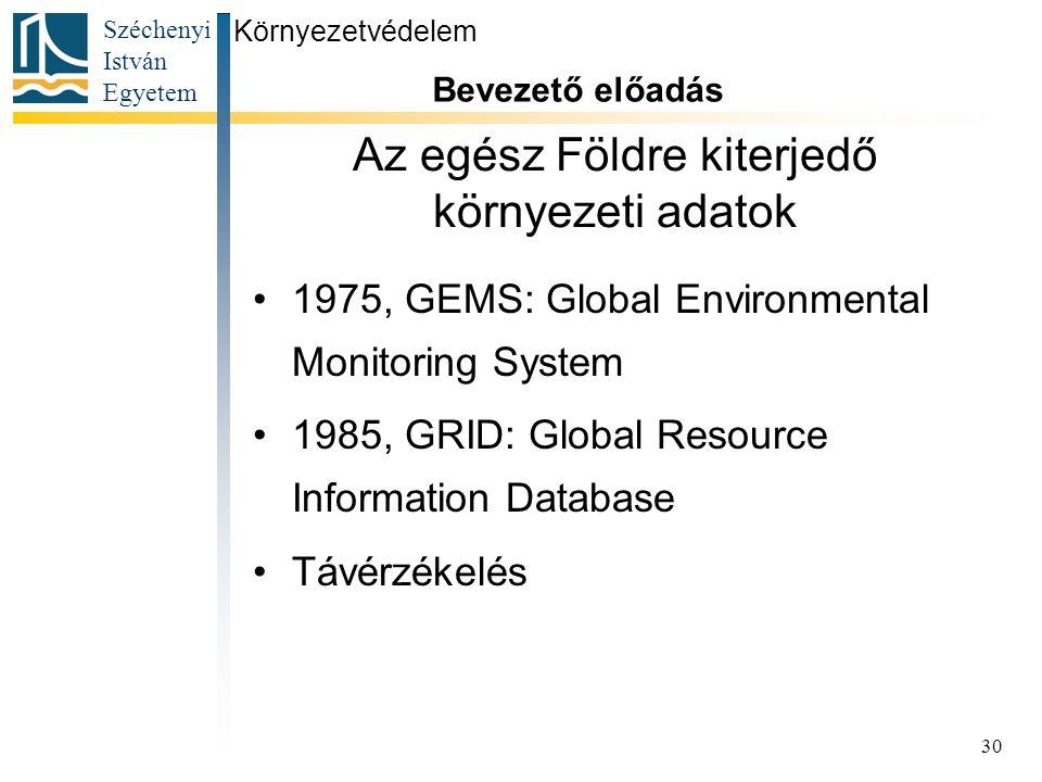Széchenyi István Egyetem 30 Az egész Földre kiterjedő környezeti adatok 1975, GEMS: Global Environmental Monitoring System 1985, GRID: Global Resource