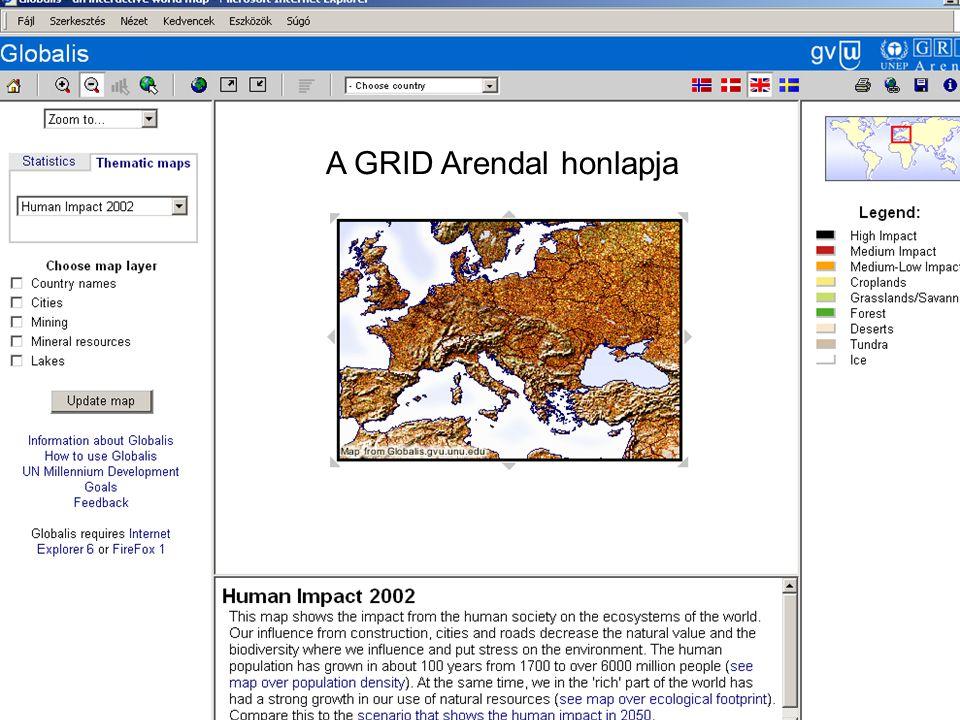 Széchenyi István Egyetem 31 Környezetvédelem Bevezető előadás A GRID Arendal honlapja