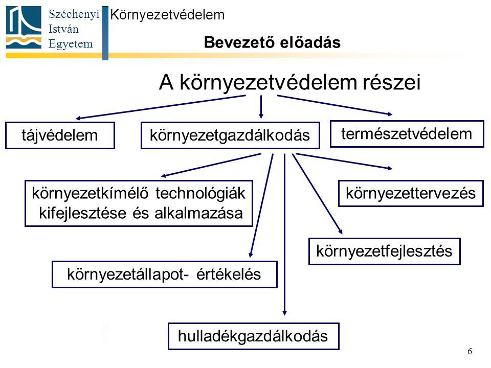 Széchenyi István Egyetem 6 A környezetvédelem részei Környezetvédelem Bevezető előadás környezetgazdálkodástájvédelem természetvédelem környezettervez
