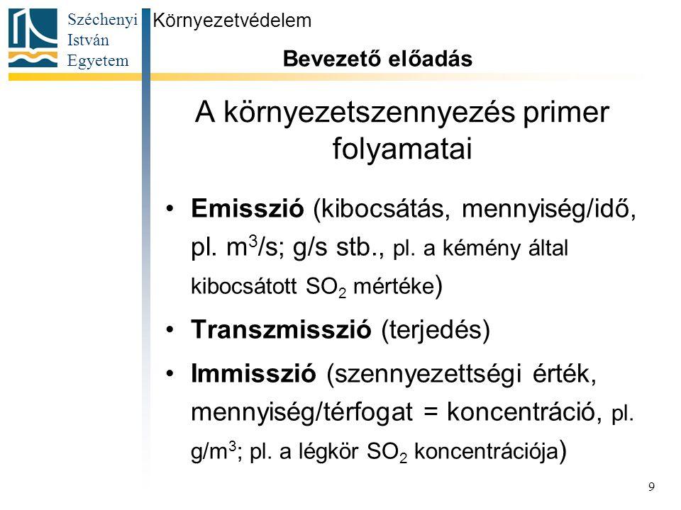 Széchenyi István Egyetem 9 A környezetszennyezés primer folyamatai Emisszió (kibocsátás, mennyiség/idő, pl. m 3 /s; g/s stb., pl. a kémény által kiboc